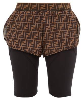 Fendi Ff Print Shell And Technical Jersey Shorts - Womens - Black