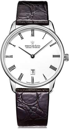 Dreyfuss & Co Dreyfuss White Printed Roman Dial Stainless Steel Strap Mens Watch