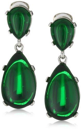 Kenneth Jay Lane Emerald Colored Rhodium Teardrop Clip-On Earrings