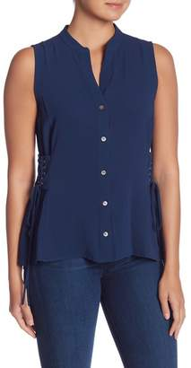 Vince Camuto Side Lace-Up Split Neck Blouse