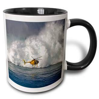 3dRose A helicopter hovers in front of 60 foot surf crashing on Mauis Northshore at Peahi (Jaws) - Two Tone Black Mug, 11-ounce