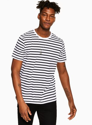 TopmanTopman White and Navy Striped T-Shirt