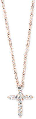 Effy Pave Rose by Diamond Cross Pendant Necklace (1/5 ct. t.w.) in 14k Rose Gold