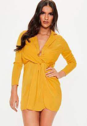 Missguided Petite Mustard Satin Wrap Plunge Dress