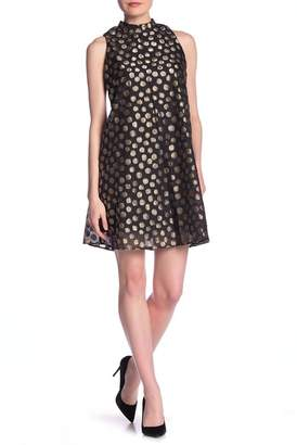 Robbie Bee Polka Dot Mock Neck Shift Dress