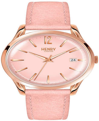 Henry London Shoreditch Ladies 39mm Nude Leather Strap Watch with Rose Gold Stainless Steel Casing