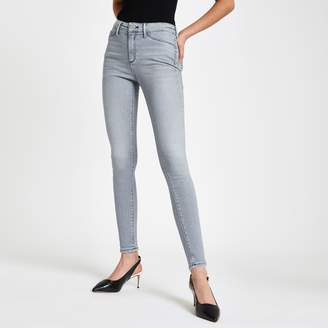 River Island Womens Grey Molly contrast mid rise jeggings