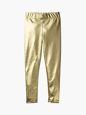 Boden Mini Girls' Shiny Leggings, Gold