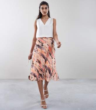 Reiss Harriet Blur-Print Pleated Skirt