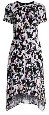Donna Karan Printed Short Sleeve Trapeze Dress