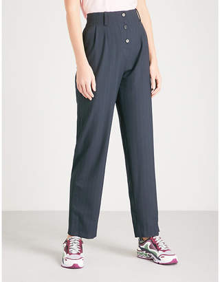 Sandro Pinstriped straight woven trousers
