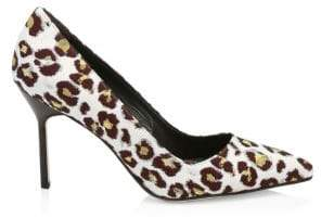 Manolo Blahnik Leopard Point Toe Stiletto Pumps