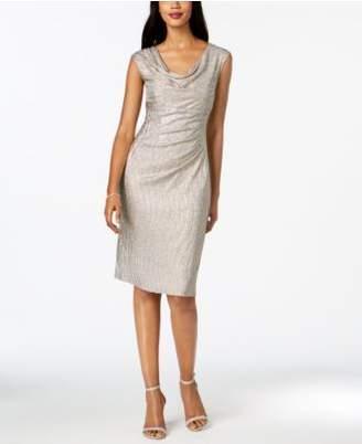 Connected Metallic Draped Sheath Dress