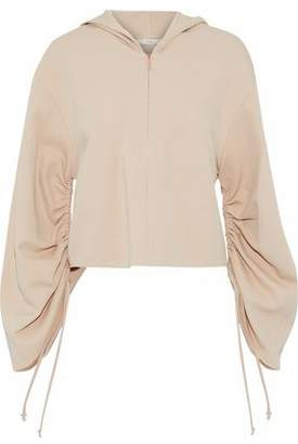Tibi Ruched Stretch-Knit Hooded Top