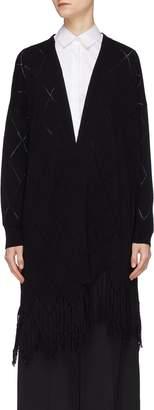 PORTSPURE Argyle cutout fringe open cardigan