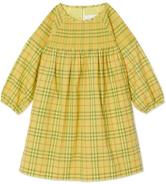 Burberry Smocked Check Cotton Dress