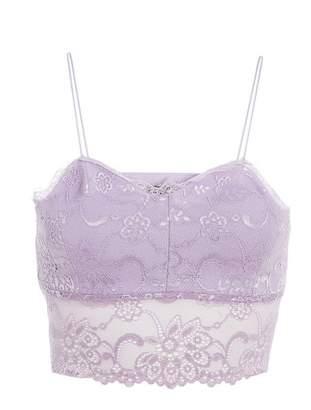 Quiz Lilac Lace Bralette Crop Top