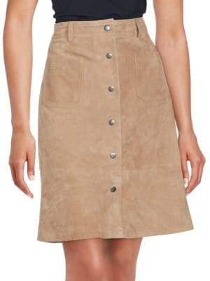 SET Pleated Leather Skirt