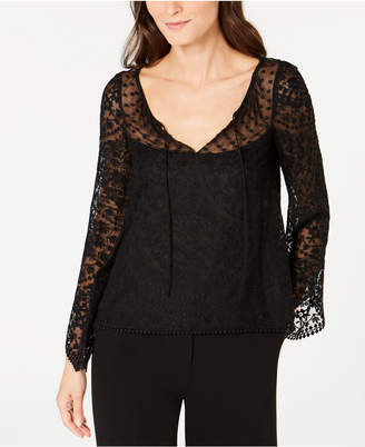 Nanette Lepore Embroidered Bell-Sleeve Top, Created for Macy's