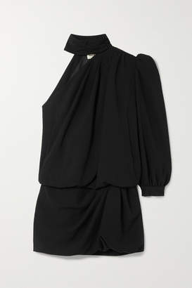 Saint Laurent One-shoulder Crepe Mini Dress - Black