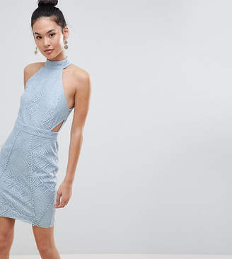 boohoo High Neck Lace Cut Out Bodycon Dress