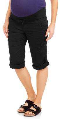 Oh! Mamma Maternity Underbelly Stretch Poplin Capri Pants - Available in Plus Sizes