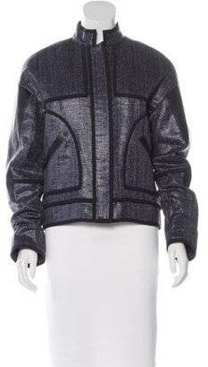 Sass & Bide Leather-Accented Metallic Jacket