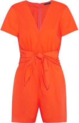 J.Crew - Tessa Tie-front Cotton-poplin Playsuit - Bright orange $120 thestylecure.com