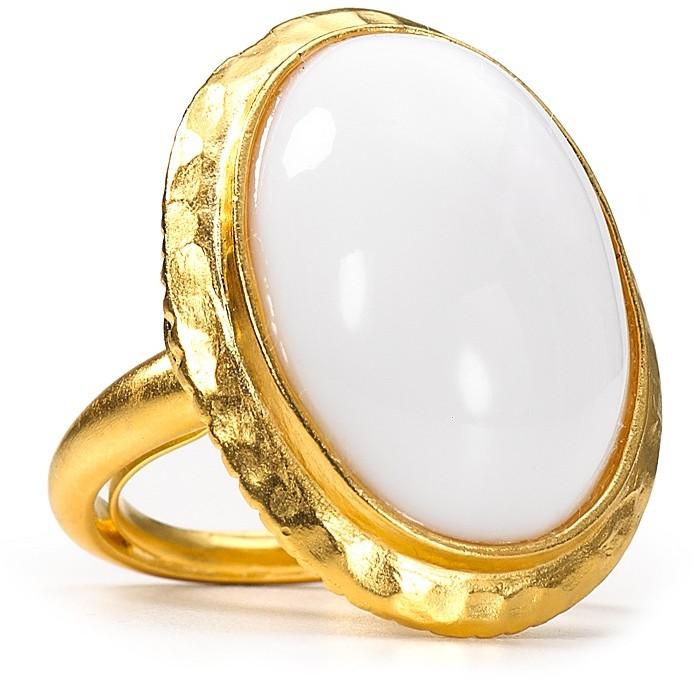 Kenneth Jay Lane White Dome Ring