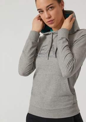 Emporio Armani Ea7 Hooded Sweatshirt With Glitter And Stud Logo