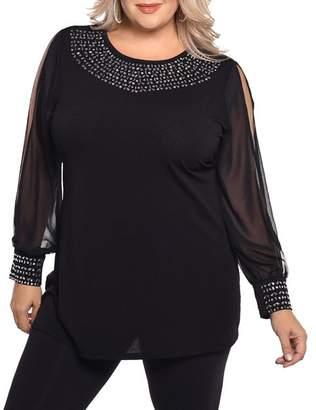 Belldini Plus Embellished Slit Sleeve Top