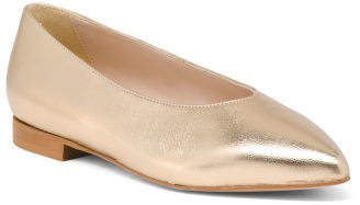 Made In Italy Leather Pointy Toe Flats
