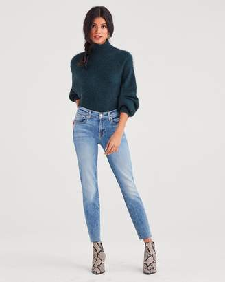 7 For All Mankind Roxanne Ankle with Cut Off Hem in Light Classic