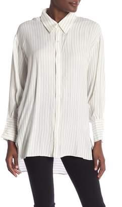 Sen Future Pinstripe Hi-Lo Button Down Shirt