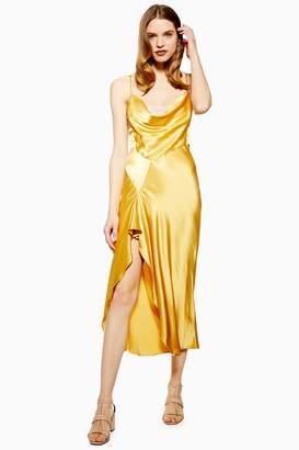 Topshop Womens Lace Back Satin Slip Dress - Yellow