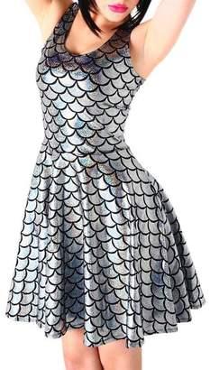 Fashion Queen 14 Colors Women Fish Scales Mini Dress Sleeveless Mermaid Skater Dress