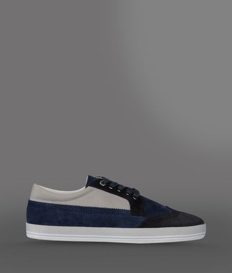 Emporio Armani High Top Sneaker In Two-Color Suede And Nylon