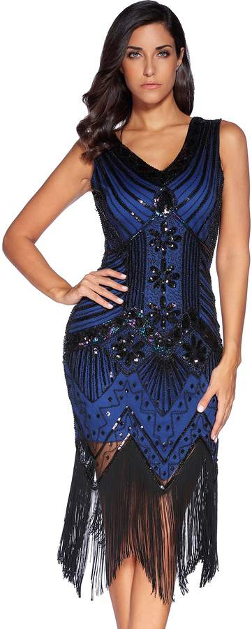 Meilun 1920s Sequined Inspired Beaded Gatsby Flapper Evening Dress Prom (XL, )