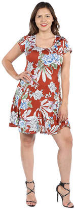 24/7 Comfort Apparel 24Seven Comfort Apparel Lani Red Short Sleeve Dress - Plus