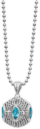 "Lagos Caviar Talisman Marquise Ball Pendant Necklace, 34"""