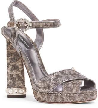 Dolce & Gabbana Metallic Leopard Print Sandal