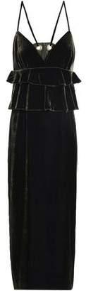 Mother of Pearl Tiered Velvet Midi Dress