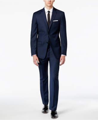 Calvin Klein Closeout! Men's X-Fit Blue/Charcoal Birdseye Slim Fit Suit