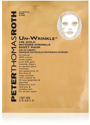 Peter Thomas Roth Un-Wrinkle 24K Gold Intense Wrinkle Sheet Mask $68 thestylecure.com