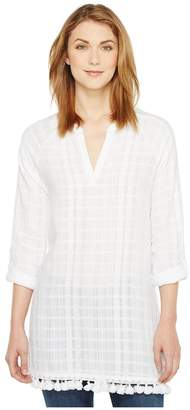 Vince Camuto Long Sleeve Textured Gauze Tassel Hem Tunic Women's Blouse