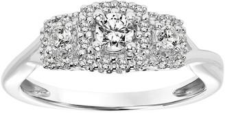 Affinity Diamond Jewelry Pave Halo Three Stone Diamond Ring, 14K, 1/3 cttw, by Affinit