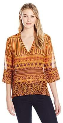 James & Erin Women's 3/4 Sleeve Printed Popover Top