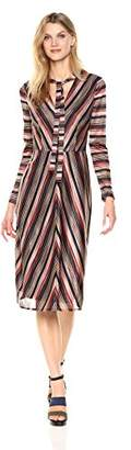 London Times Women's Long Sleeve V Midi Knit Fit & Flare Dress w. Neck Tie
