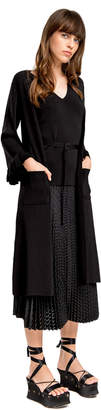 Max Studio fully fashioned knit ruffled long cardigan