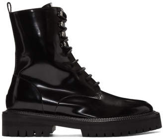 Yang Li Black Patent Classic Lace-Up Boots